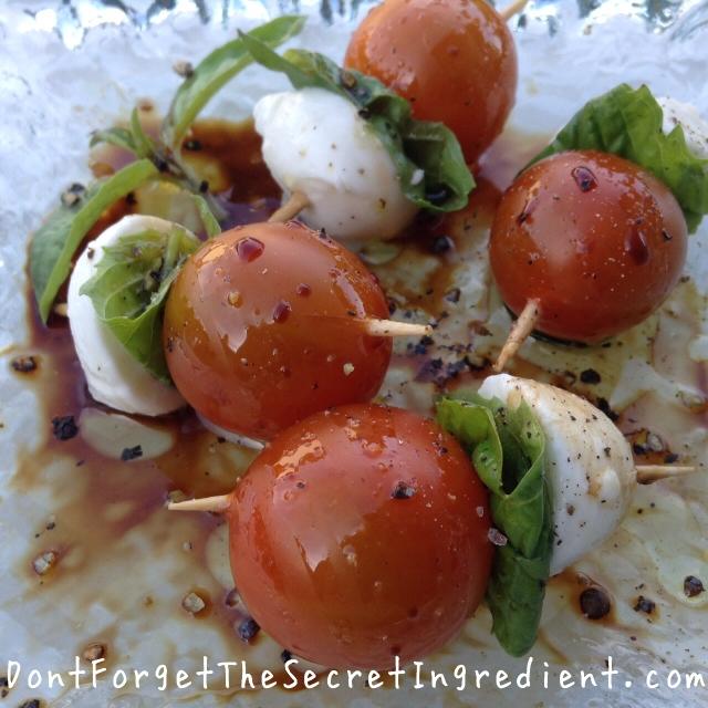 Tomato Basil and Mozzarella Pops