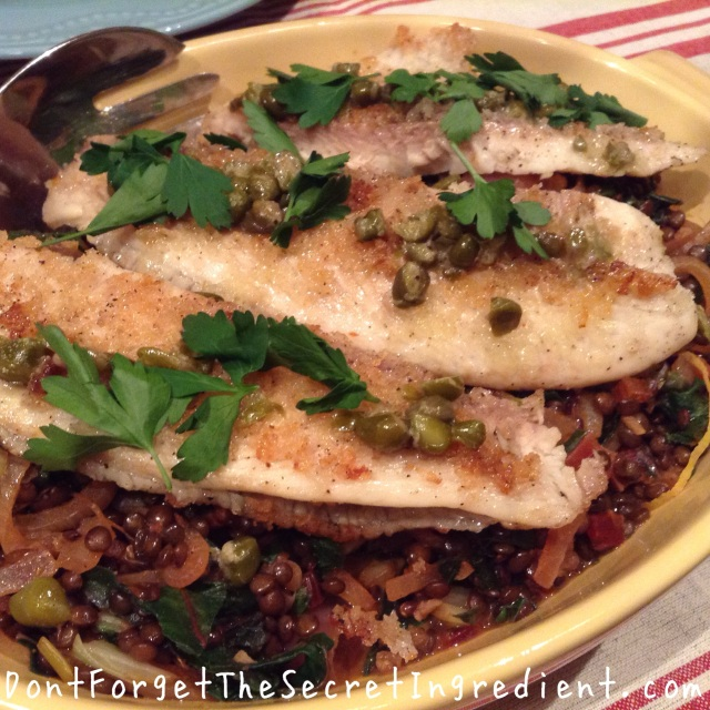 Tilapia and Moroccan-spiced Lentils And Rainbow chard