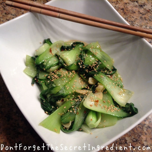 bok choy with garlic and chili oil
