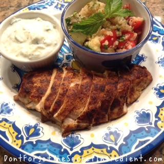 yogurt sauce chicken and tabbouleh