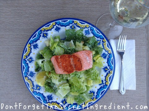 Ceasar Salad with Seared Salmon